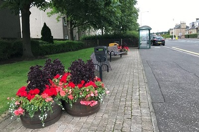 Planters opposite Chalmers Hall on Main Street